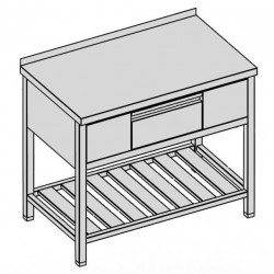 Pracovný stôl s krytovanou zásuvkou a roštom