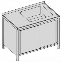 Umývací stôl s vaňou skrinkový s posuvnými dverami 130x70