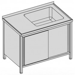 Umývací stôl s vaňou skrinkový s posuvnými dverami 150x80