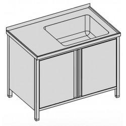 Umývací stôl s vaňou skrinkový s krídlovými dverami 130x80