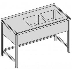 Umývací stôl s dvomi drezmi a krytom 130-60