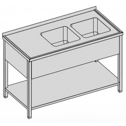 Umývací stôl s dvomi drezmi s policou a krytom 180-60