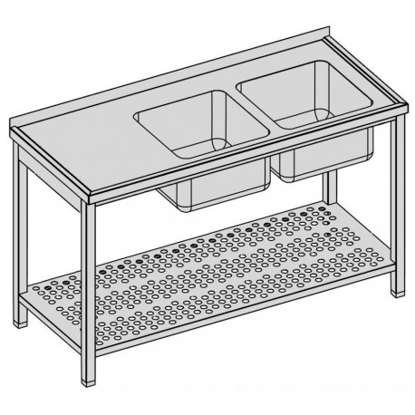 Umývací stôl s dvomi drezmi s perf. policou 160-80