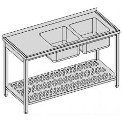 Umývací stôl s dvomi drezmi s perforovanou policou
