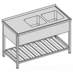 Umývací stôl s dvomi drezmi s roštom a krytom 120-60