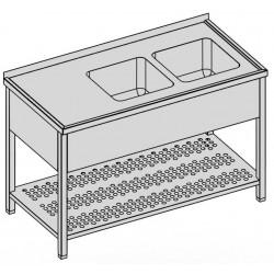 Umývací stôl s dvomi drezmi s perforovanou policou a krytom