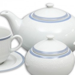 Čipka modrá čajová súprava 17 D