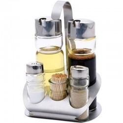 Koreničky nerezové, satinované - soľ, korenie, olej, ocot, špáradlá