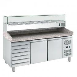 Dvojdverový pizza-stôl EKO PROFI s chlad. vitrínou a zásuvkami