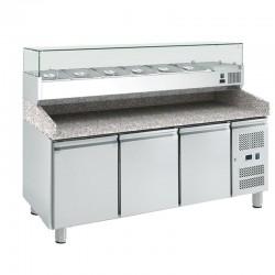 Trojdverový pizza-stôl vitrínou 10 x GN1/4