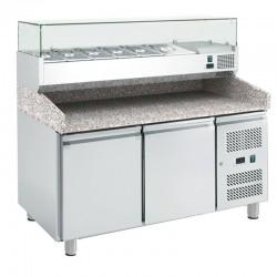 Dvojdverový pizza-stôl EKO PROFI s chlad. vitrínou