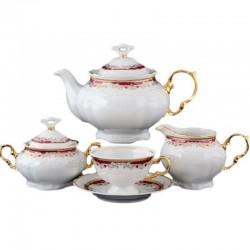 Červeno - zlatá čajová súprava 17 D