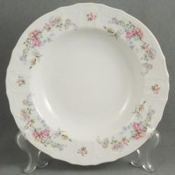 Farebné kvety + zlatá linka biela 18 D tanierová súprava