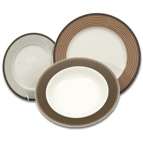 Cairo ivory hnedé kruhy tanierová súprava 18 D