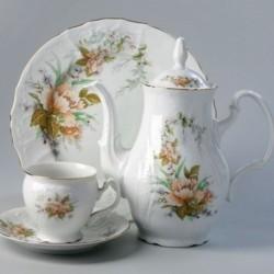 Kvety + zl. linka biela 17 D čajová súprava