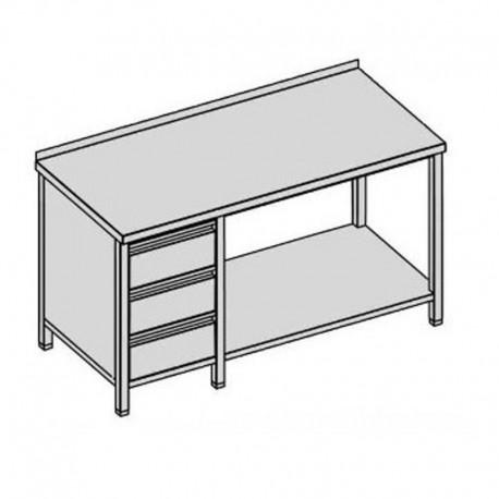 Pracovný stôl s tromi zásuvkami a policou