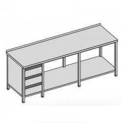 Pracovný stôl s tromi zásuvkami a policou dlhý