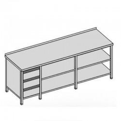Pracovný stôl s tromi zásuvkami a dvomi policami dlhý