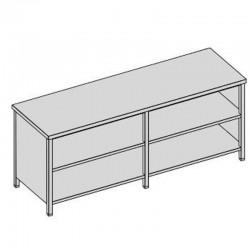 Pracovný stôl s krytom a 2-mi policami dlhý 200x60