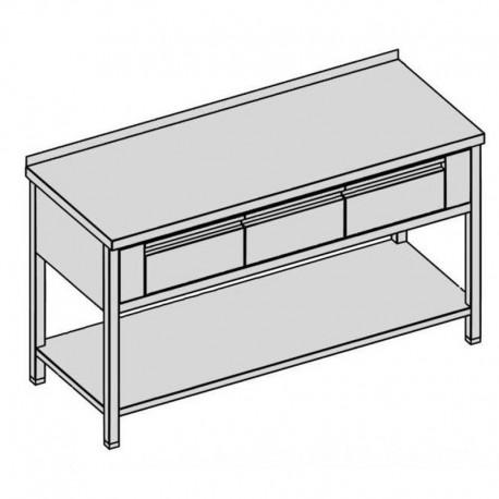 Pracovný stôl s tromi krytovanými zásuvkami a policou
