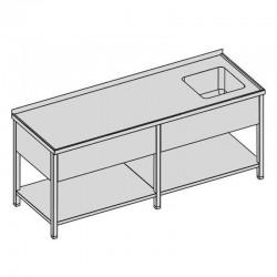 Umývací stôl s krytým drezom a policou dlhý