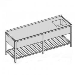 Umývací stôl s kryt. drez. a roštom dlhý 260x70