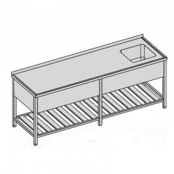 Umývací stôl s kryt. drez. a roštom dlhý 280x70
