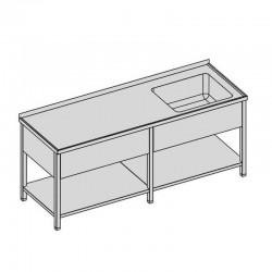 Umývací stôl s vaňou, krytom a policou dlhý