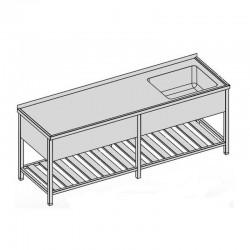 Umývací stôl s vaňou, krytom a roštom, dlhý