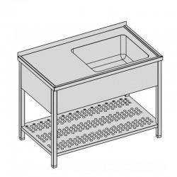 Umývací stôl s vaňou, krytom a perforovanou policou