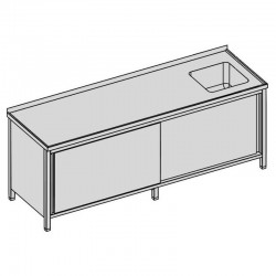 Umývací stôl krytý s drezom a posuvnými dverami dlhý