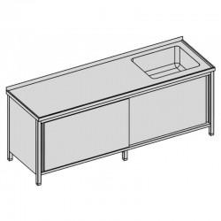 Umývací stôl krytý s vaňou a posuvnými dverami dlhý