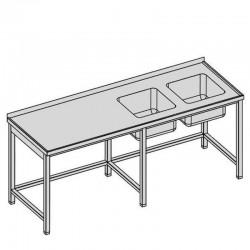 Umývací stôl s dvomi drezmi dlhý