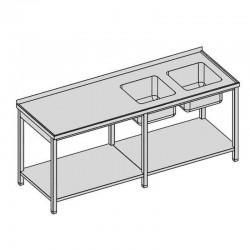 Umývací stôl s dvomi drezmi a policou dlhý
