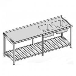 Umývací stôl s dvomi drezmi a roštom dlhý