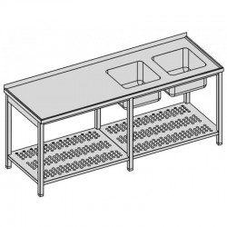 Umývací stôl s dvomi drezmi s perforovanou policou dlhý