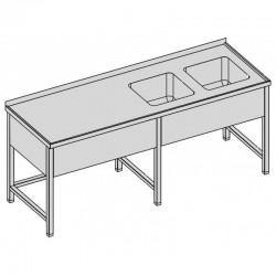 Umývací stôl s dvomi drezmi a krytom dlhý