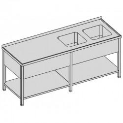 Umývací stôl s dvomi drezmi s policou a krytom dlhý