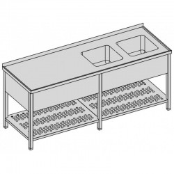 Umývací stôl s dvomi drezmi s perforovanou policou a krytom dlhý