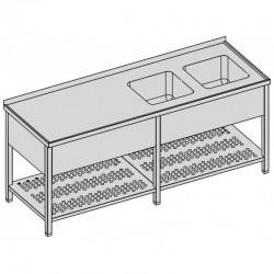 Umývací stôl s dvomi drezmi s perforovaná policou a krytom dlhý