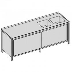Umývací stôl s dvomi drezmi a posuvnými dvermi, krytý, dlhý