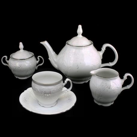 BERNADOTTE damašek + platinová linka čajová súprava 17 D