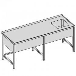 Umývací stôl s krytým drezom dlhý