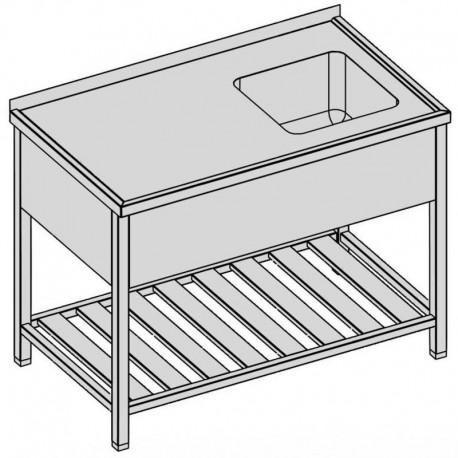 Umývací stôl s krytým drezom a roštom