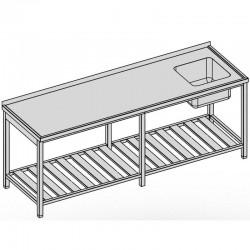 Umývací stôl s drezom a roštom dlhý 260x80