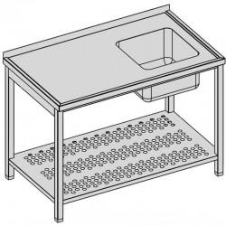 Umývací stôl s drezom a perforovanou policou