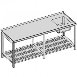 Umývací stôl s drezom a perforovanou policou dlhý
