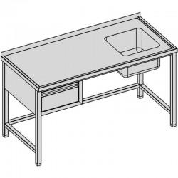 Umývací stôl s drezom a so zásuvkou 130x70