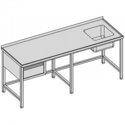 Umývací stôl s drezom a so zásuvkou dlhý