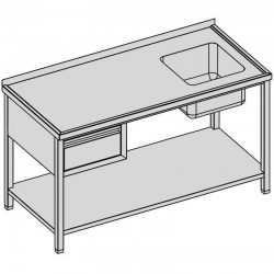Umývací stôl so zásuvkou a policou